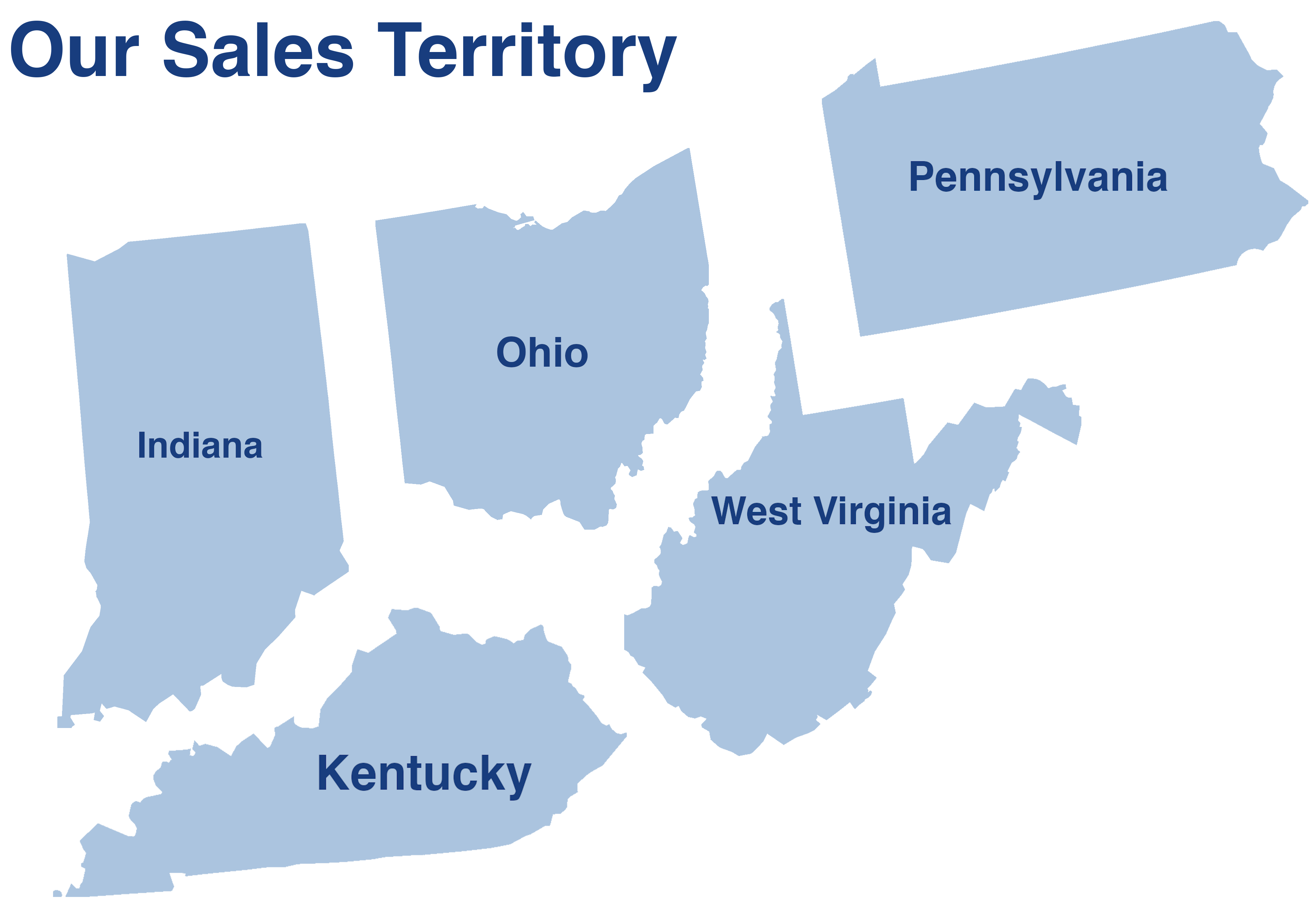 Our Sales Territory: Ohio, Indiana, Pennsylvania, Kentucky, West Virginia